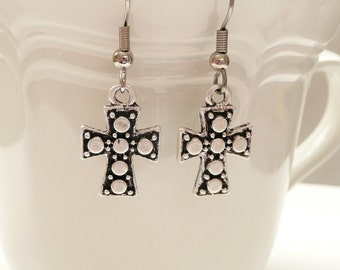 nd-Silver Cross Dangle Earrings