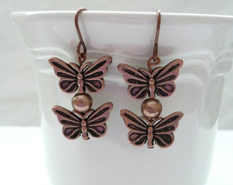 ndb-Copper Butterfly Dangle Earrings