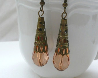Antique Bronze and Peach Dangle Earrings