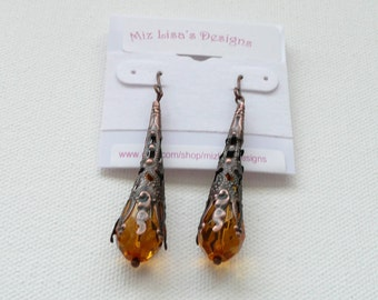 ndb-Antique Copper and Amber Dangle Earrings