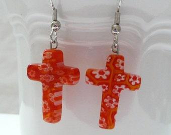 ndb-Red Floral Cross Dangle Earrings