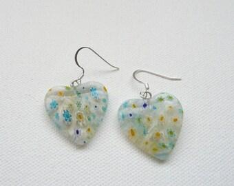 Clear Millefiori Glass Heart Dangle Earrings