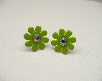 ns-Lime Green Flower Stud Earrings with Rhinestone Center
