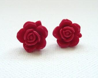 ns-Red Resin Rose Stud Earrings