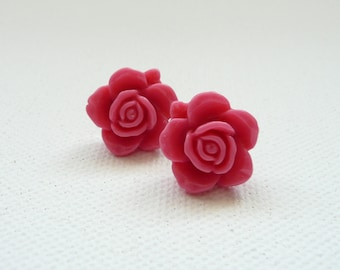 Hot Pink Resin Rose Stud Earrings