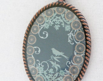 nnm-Teal and Aqua Oval Copper Pendant Necklace