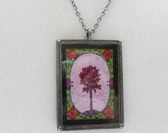 nnm-Rectangle Pendant with a Tree with Red Flowers on a Gunmetal Finish Chain