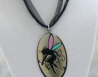 nnr-Fairy with Pink and Blue Wings on a Silver(color)  Pendant on a Black Ribbon Necklace
