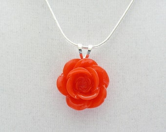 nnm-Red Rose on a Silver Plated Chain