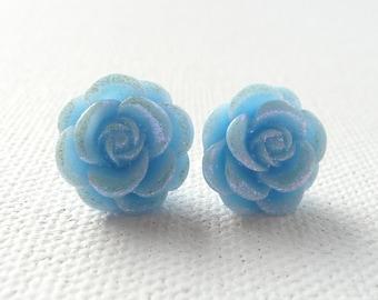ns-Light Blue Dew Kissed Rose Stud Earrings