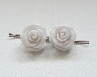 White Rose Hair Pins