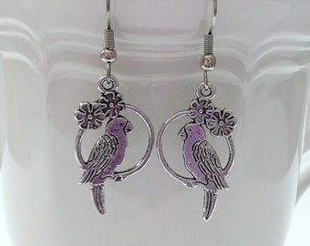 Double Sided Parrott Dangle Earrings
