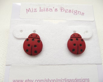 ns-CLEARANCE - Mini Red and Black Ladybug Stud Earrings