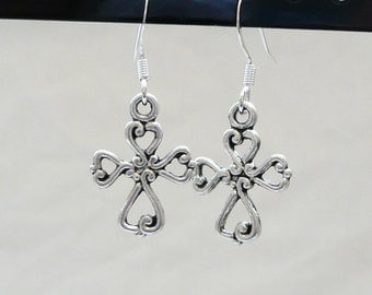 Silver Open Cross Dangle Earrings