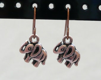 nd-Small Copper Elephant Dangle Earrings