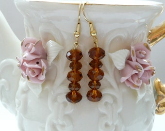 ndb-Topaz Crystal Rondelle and Gold  Dangle Earrings