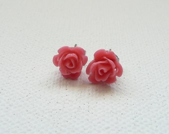 ns-Petite Rosy Pink 3d Clay Rose Stud Earrings