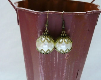 White Glass Pearl and Antique Gold Dangle Earrings
