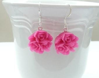 Bright Pink Flower Bouquet Dangle Earrings