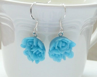 Blue Flower Bouquet Dangle Earrings
