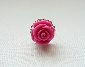 nr-Silver Filigree and Large Pink Rose Adjustable Ring