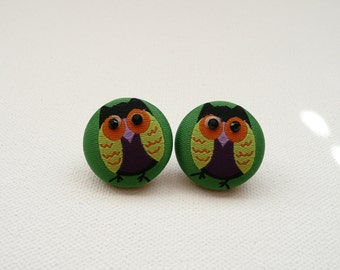 hs-Green Fabric With Colorful Owl Stud Earrings