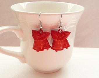 3D Red Christmas Bell Dangle Earrings