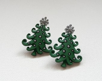 hs-Green and Silver Fancy Christmas Tree Stud Earrings