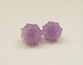 Frosted Lavender Resin Mum Stud Earrings