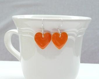 nd-Orange Enamel Double Sided Heart Dangle Earrings