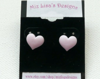 CLEARANCE - Small Pink Heart Stud Earrings