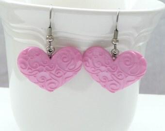 Scrolled Pink Heart Dangle Earrings
