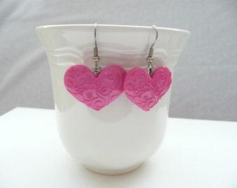 Scrolled Hot Pink Heart Dangle Earrings