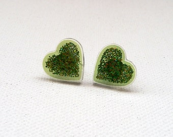 Small Sparkly Green Heart Stud Earrings