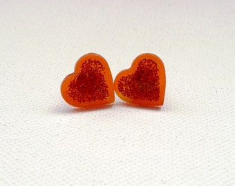 ns-Small Sparkly Orange Heart Stud Earrings
