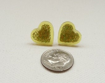ns-Small Sparkly Yellow Heart Stud Earrings