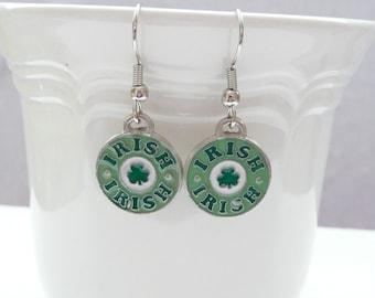 St. Patricks Day IRISH Enamel Dangle Earrings