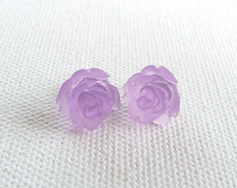 ns-Petite Frosted Lavender Rose Stud Earrings