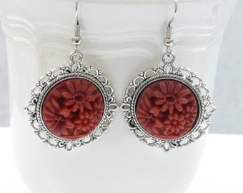 Vintage Style Silver and Brick Red Dangle Earrings