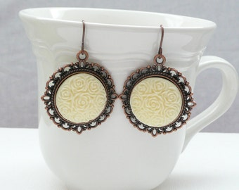 nd-Vintage Style Copper and Ivory Dangle Earrings