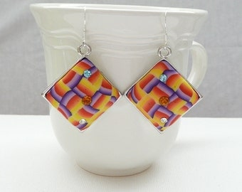 nd-Yellow, Purple, Red, and Orange Polymer Clay and Crystal Diamond Dangle Earrings