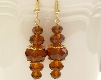ndb-Topaz Crystal Rondelle and Gold Filigree Dangle Earrings