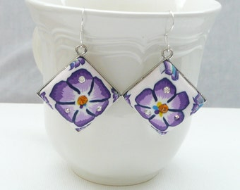 nd-White and Purple Floral Polymer Clay and Crystal Diamond Dangle Earrings