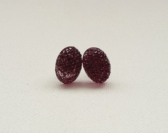 ns-CLEARANCE - Rose Sparkle Oval Stud Earrings