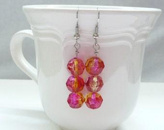 ndb-Pink and Yellow Two Tone Acrylic Round Bead Dangle Earrings