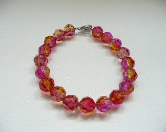 nbc-Pink and Yellow Two Tone Acrylic Round Bead Bracelet with Silver Toggle Clasp