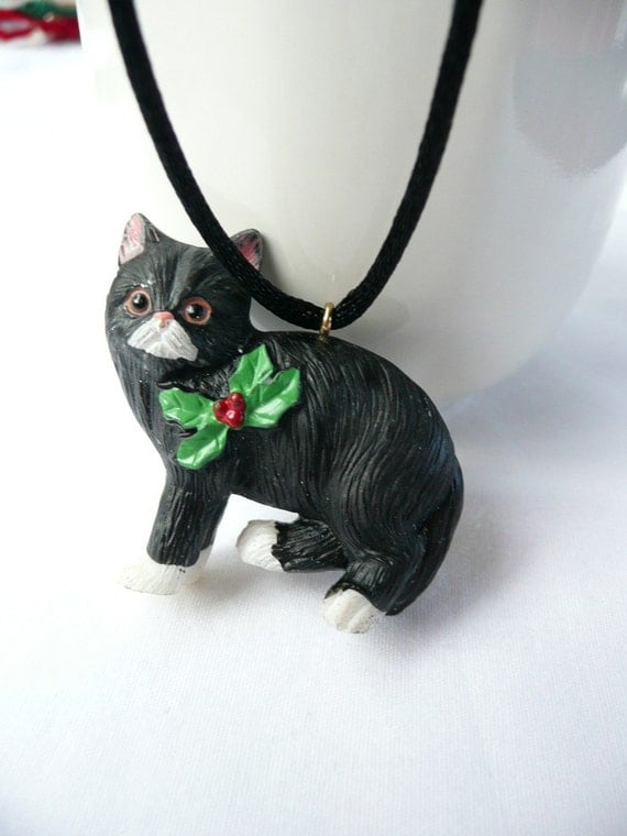 Black Cat with White Paws Holiday Necklace