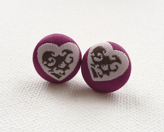 ns-Orchid with Pink and Taupe Heart Printed Fabric Covered Round Stud Earrings
