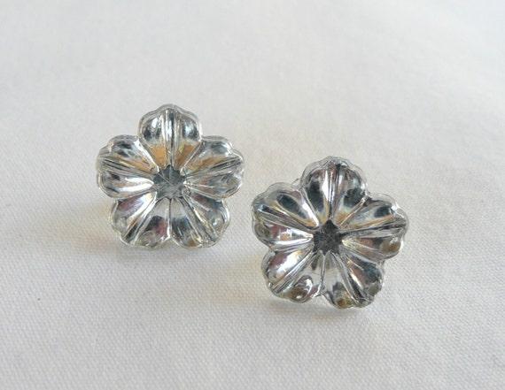 Clear Hibiscus Flower Stud Earrings