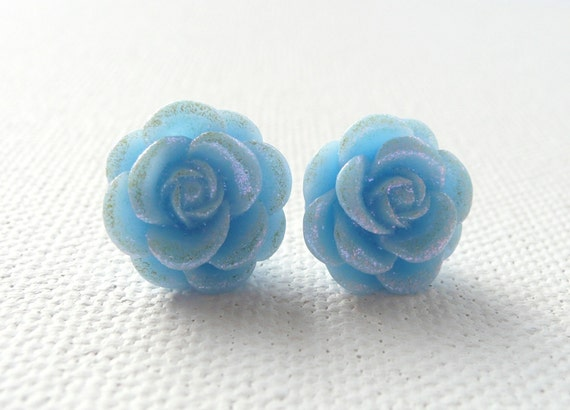 Light Blue Dew Kissed Rose Stud Earrings